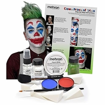 Mehron Clown Costume Makeup Kit - 8 Piece All in One Halloween Cosmetics with Joker Face Paint - Step-by-Step Instructions
