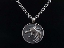 925 Sterling Silver Witcher Geralt of Rivia Wolf School Medallion Pendant Necklace