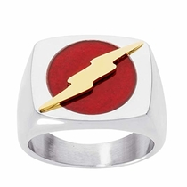 DC Comics Mens Stainless Steel Justice League Superhero Logo Ring Jewelry, The Flash