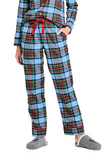 Lands' End Women's Print Flannel Pajama Pants Small Rich Red Plaid