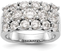 KIOKORI 14K White Gold Triple Row Diamond Wide Band 3-Carat tw ~ Rings Sizes: 5 to 9 ~ by Roy Rose Jewelry