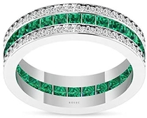 1.66 Carat Emerald IGI Certified Diamond Halo Wedding Ring, Antique Princess Cut Green Gemstone Anniversary Ring, Vintage May Birthstone Eternity Ring