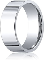Women's 18K White Gold 8mm Flat Comfort Fit Wedding Band Ring, Size 6.5: Aetonal