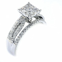 Midwest Jewellery 14K White Gold Bridal Wedding Ring 0.75cttw Diamonds 7mm Wide (0.75cttw): MidwestJewellery