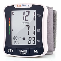 "LotFancy Wrist Blood Pressure Monitor Cuff, 2Users, 120 Reading Memory, Manual Blood Pressure Cuff (5.3""-8.5""), Digital Blood Pressure Monitor with Large Screen, Digital Sphygmomanometer for Home Use"