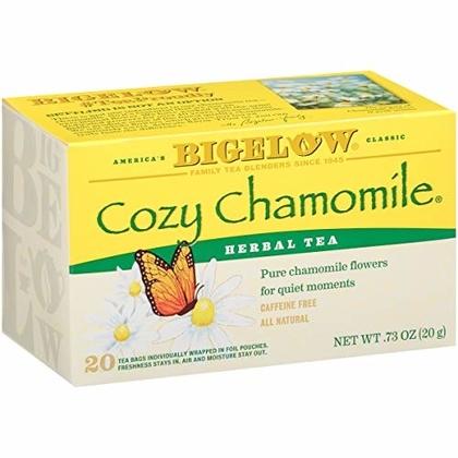 "People recommend ""Bigelow Cozy Chamomile Herbal  Tea Bags, 20 Count Box (Pack of 6) Caffeine Free Herbal Tea, 120 Tea Bags Total"""