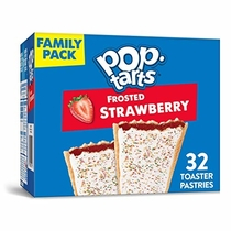 "People recommend ""Kellogg's Pop-Tarts Frosted Strawberry Toaster Pastries - Fun Breakfast for Kids, Family Pack (32 Count)"""