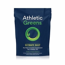 "People recommend ""Athletic Greens Ultimate Daily, Whole Food Sourced All In One Greens Supplement, Superfood Powder, GlutenFree, Vegan and Keto Friendly, 30 Day Supply, 360 grams"""