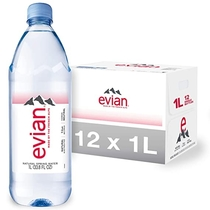 """People recommend """"Evian Natural Spring Water (One Case of 12 Individual Bottles, each bottle is 1 liter)"""""""