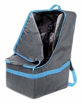 """People recommend """"#1 ZOHZO Car Seat Travel Bag — Adjustable, Padded Backpack for Car Seats — Car Seat Travel Tote — Save Money, Make Traveling Easier — Compatible with Most Name Brand Car Seats (Gray with Blue Trim)"""""""