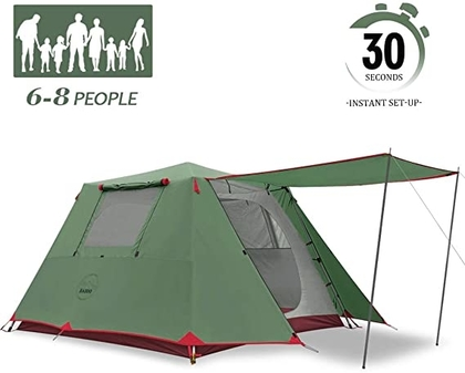 """People recommend """"KAZOO Family Camping Tent Large Waterproof Pop Up Tents 6/8 Person Room Cabin Tent Instant Setup with Sun Shade Automatic Aluminum Pole """""""