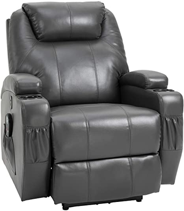 "People recommend ""HOMCOM Electric Power Massage Recliner Chair Waist Heating Reclining Sofa with 8-Point Vibration, Dark Grey"""