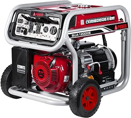 """People recommend """"A-iPower SUA12000E 12, 000-Watt Gasoline Powered Generator with Electric Start, Red/Black """""""