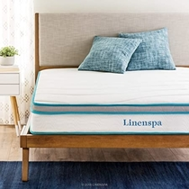 """People recommend """"Linenspa 8 Inch Memory Foam and Innerspring Hybrid-Mattress - Medium-Firm Feel - Queen"""""""