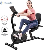 Tricodale Recumbent Bike, Magnetic Indoor Stationary Exercise Recumbent Bike with 8-Level Resistance, Silent Belt Drive, Bluetooth, LCD Monitor, Pulse Sensors, Adjustable Seat, 380lb Capacity